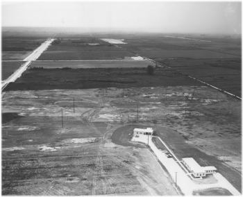 1957 - Aerial view of living quarters/mess hall, and support bldg at Homestead, Florida