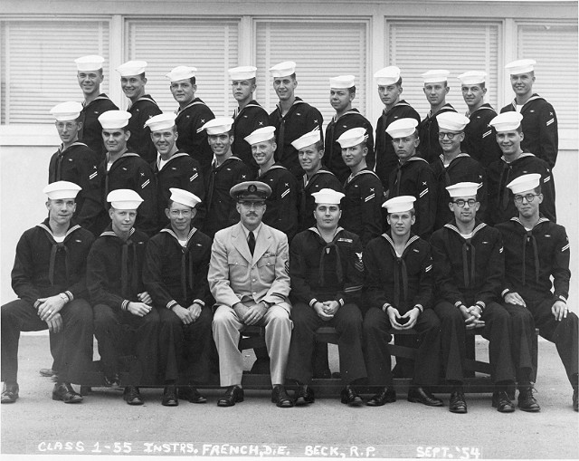 Imperial Beach CT School Basic Class 1-55(R) Sept 1954 - Instructors CTC French, CT1 Beck