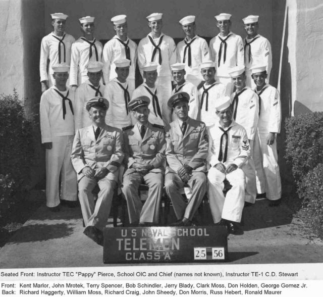 San Diego CT(O) Basic Teleman Class 25-56 -  1956 - Instructors TEC Pierce/TE1 Stewart