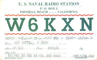 W6KXN ... NAVRADSTA, Imperial Beach, California